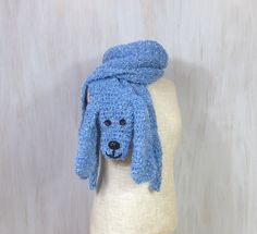 Blue dog — handmade soft scarf, knit knitted crochet wrap, long animal scarf, doggie scarf, boucle scarf, shawl - pinned by pin4etsy.com