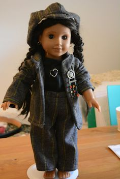 American girl doll clothes pants tee shirt jacket newsboy hat pin gray striped and black by hudathotjewelry on Etsy SOLD
