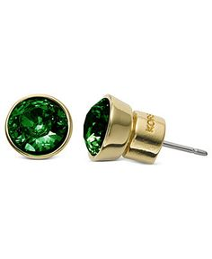 Michael Kors Earrings, Gold-Tone Emerald Glass Crystal Small Stud Earrings - Shop All Jewelry - Jewelry & Watches - Macy's
