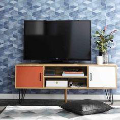 Meuble TV vintage en bois blanc et orange L 130 cm