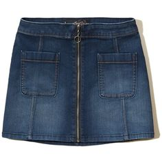 Hollister Zip Front Denim A-Line Skirt ($7.99) ❤ liked on Polyvore featuring skirts, dark wash, blue skirt, knee length denim skirt, retro skirts, blue denim skirt and denim skirt