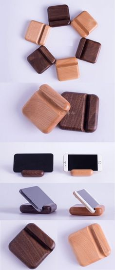 Wooden Business Card Holder iPhone iPad SmartPhone Holder Stand Mount for iPhone iPad and Other Cell Phone