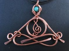 "Little Yogi - ""Inner Music"" - yoga jewelry - with Turquoise - meditating on inner music - copper -pendant - treble clef - people -. $30.00, via Etsy."