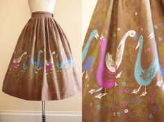 1950s Skirt Novelty Vintage 50s Goose Print Cotton por jumblelaya