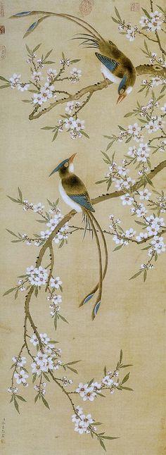Yu Xing(余省) , 清 余省 桃花双绶图轴