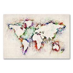 22'' x 32'' ''World Map - Paint Splashes'' Canvas Wall Art by Michael Tompsett, Beig/Green (Beig/Khaki)