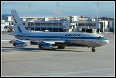 """United Airlines """"720 Jet Mainliner"""" taxiing from the gate at Denver's Stapleton Airport in July, 1967 -- I worked on a lot of 720's."""