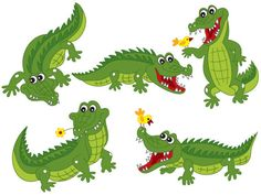 Crocodile Set vector image on VectorStock Alligator Party, Alligator Birthday, Baby Alligator, Alligator Tattoo, Cartoon Drawings, Animal Drawings, Easy Drawings, Inkscape Tutorials, Video Tutorials
