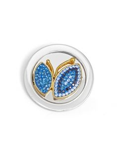 Mi Moneda Coin, Large Butterfly Gold Blue. Fits on Large Pendant.
