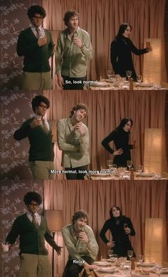 Look normal! (The IT Crowd - Richard Ayoade, Chris O'Dowd, Noel Fielding) All Lovely men. What an awesome room to have been in! Nerd Love, My Love, Richard Ayoade, The Mighty Boosh, Gentleman, Noel Fielding, British Comedy, Just For Laughs, Favorite Tv Shows