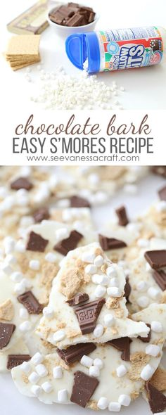 Make a batch of S'mores Chocolate Bark for a camping themed party treat or rustic wedding party favor. /kraftjetpuffed/ christmas recipes for parties Party Treats, Party Desserts, Holiday Desserts, Dessert Recipes, Potluck Desserts, Holiday Foods, Holiday Parties, Recipes With Marshmallows, Roasting Marshmallows