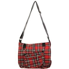 Amazon.com: Banned Apparel Studded Punk Red Tartan Plaid Purse with... ($45) ❤ liked on Polyvore featuring bags, handbags, red handbags, studded purse, white purse, punk rock purses and punk rock handbags