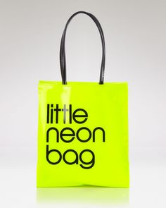 all over the place: NEONS! // Bloomingdale's Tote - Little Neon Bag // Bags Online Shopping, Paper Shopping Bag, Mellow Yellow, Neon Yellow, Neon Bag, Fashion Packaging, Little Bag, Neon Colors, Bright Colors