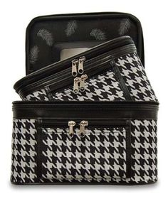 Amazon.com: Train Case Cosmetic Toiletry 2 Piece Luggage Set Black Trim Black White Houndstooth Print: Beauty