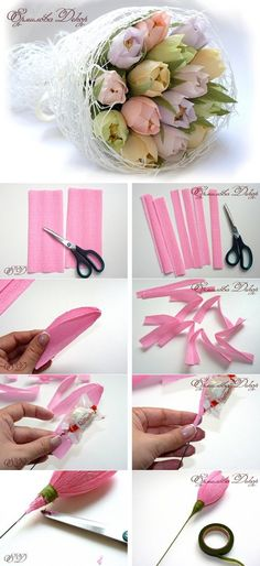DIY Gift Ideas for Your Best Friend – You might want to appreciate your best buddy by gifting them something special. Read Delightful DIY Gift Ideas for Your Best Friend Candy Flowers, Diy Flowers, Fabric Flowers, Chocolate Flowers Bouquet, Crepe Paper Crafts, Candy Crafts, Tissue Paper Flowers, How To Make Diy, Flower Tutorial