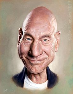 Neil Davies Illustration - Caricature and Portrait Patrick Stewart, Cartoon Faces, Funny Faces, Cartoon Art, Funny Caricatures, Celebrity Caricatures, Celebrity Drawings, Sketch Manga, Caricature Drawing
