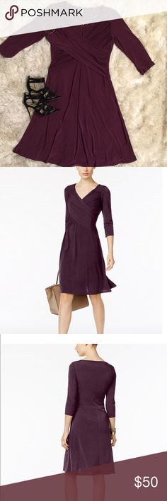 B-Slim Three-Quarter-Sleeve Dress B-Slim Three-Quarter-Sleeve Dress.  Sweetheart neckline.  Pullover dress.  Three-quarter-length sleeves.  Crossover draped design at bodice.  Control top lining at bodice.  Color:  True Eggplant.  Hits slightly below knee;  approximately 43 inches from center back neckline.  Body material:  polyesters/spandex;  lining polyester;  bottom lining polyester/spandex B-slim Dresses Asymmetrical