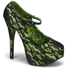 Lime Green Mary Jane Heels by Bordello Shoes. Closed toe Mary Jane pumps with black lace overlay, stiletto heel and concealed platform. The by Bordello shoes come In hot pink, lime green, nude, and red. Mary Jane Heels, Lace Heels, Shoes Heels, Cute Shoes, Me Too Shoes, Awesome Shoes, Unique Shoes, Grunge, Green Pumps