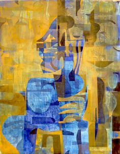 """Saatchi Art Artist Kevin Chadwick; Painting, """"Blue Nude with Stool"""" #art"""