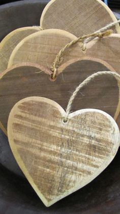 Wooden Hearts - by Bagel and Griff Heart Diy, I Love Heart, Heart Crafts, Key To My Heart, Wooden Christmas Decorations, Valentine Decorations, Valentine Day Crafts, Valentines, Deco Nature