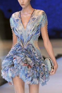Alexander McQueen Spring 2010 aquamarine embellished and ruffled dress