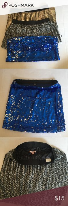 Romeo and Juliet Couture Sparkle Skirts Good condition! Will throw in the blue skirt forever 21 for free! Buy together for 15 or apart for 7! All fit like a medium but the gold one is a large Romeo & Juliet Couture Skirts