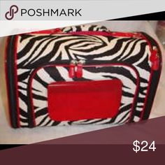 """Zebra Hard Sided Canvas Pet Carrier Tote-15"""" Measures approx. 15""""L X 9""""H X 8""""W. Carry handle and detachable shoulder strap. Three airway net Windows. Washable pet pad included. Three way zippered opening. Brand new! Bags Travel Bags"""