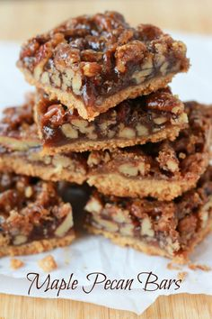 Maple Pecan Bars - A brown sugar shortbread crust topped with a sticky maple pecan filling and a sprinkling of sea salt.