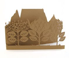 Protea african flowers paper cut