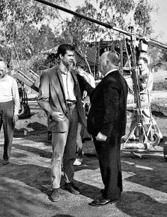 Alfred Hitchcock and Anthony Perkins confer on the set of Psycho (1960)