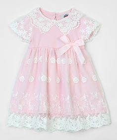 Look what I found on #zulily! Pink & White Lace A-Line Dress - Infant #zulilyfinds