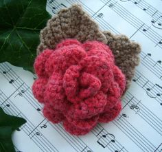 Hand Crochet Corsage Brooch Pin Red Wool Rose