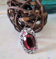 Handmade Ring Victorian Silver Filigree, Dusky Rose Faceted Glass Stone, Swarovski Vintage Rose Crystal Flower, Unique Gift for Friend by BackAlleyDesignsINK on Etsy