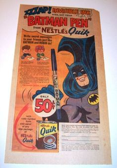 Yet another cool vintage Batman comic book ad from Quik instant chocolate milk powder.
