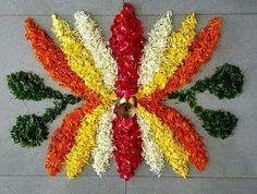 10 Great Onam Pookalam Designs That You Should Try in 2019 - Simple Rangoli Designs Flower Rangoli Images, Simple Flower Rangoli, Rangoli Designs Flower, Rangoli Patterns, Colorful Rangoli Designs, Rangoli Ideas, Rangoli Designs Diwali, Rangoli Designs Images, Diwali Rangoli