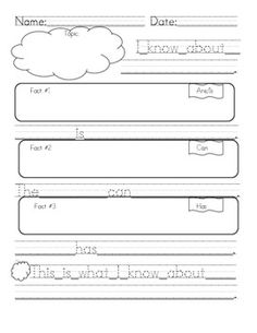 Graphic Organizer for Informative Paper | First Grade Informative/Explanatory Writing Graphic Organizer