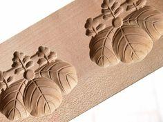 Japanese Antique Kashigata Kamon Family Crest w Cover Carved Wooden Cake Mold   eBay