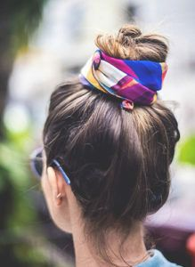 Love a good hair scarf mixed into a topknot!