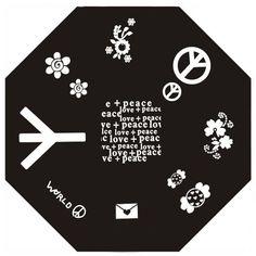 Plaque de stamping nail art Peace & Love et Fleur @kitmanucure  : http://www.kit-manucure.com/325-plaque-de-stamping-peace-love-et-fleur.html