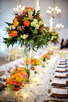 Colorful-Wedding-Flowers long table arrangement