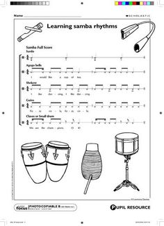 Patterns for various instruments to create a samba rhythm. Drum Lessons, Music Lessons, Samba Music, Music Rock, Middle School Music, Music Lesson Plans, Music Worksheets, Music Activities, Music Classroom