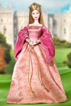 Princess of England Barbie with dress based on a portrait of young Elizabeth I, a rose colored satin bodice and rosy pink skirt decorated with golden renaissance inspired patterns. Golden embellishments accent her outfit, including a golden cord that ties at her waist, a brooch, and a regal crown based on the steeple-shaped headdresses of the era.