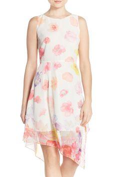 Floral Print Asymmetrical Hem Fit & Flare Dress by Chelsea28 on @nordstrom_rack
