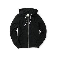 Zine Black Hoodie ($40) ❤ liked on Polyvore featuring tops, hoodies, black zip up hoodies, fleece lined hooded sweatshirt, black zip up hoodie, zipper hoodies and black zip hoodie