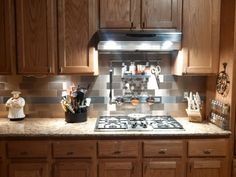 """Want a creative way to accent the stainless 3""""x6"""" Aspect Peel and Stick Tiles? Just install a piece of the Matted Honeycomb Stainless Aspect as a focal point!"""
