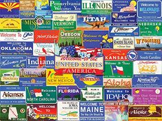 In the 1000 piece jigsaw puzzle, Welcome to America by White Mountain, a collage of all of America's state welcome signs is depicted. This puzzle is a great afternoon activity—especially if you love your states! State Mottos, Small Wonder, Puzzle Pieces, Nebraska, Welcome, 1000 Piece Jigsaw Puzzles, Life Is Good, The Unit, America