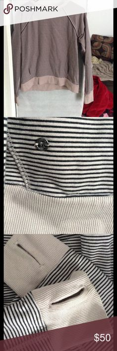 Lululemon Crew Neck Sweater Like new condition. Size 6. Fits true to size. Pink and black stripes. lululemon athletica Sweaters Crew & Scoop Necks