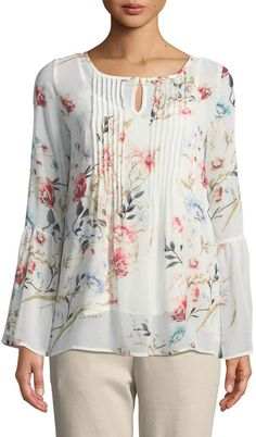 Shop Floral-Chiffon Bell-Sleeve Blouse from Joan Vass at Neiman Marcus Last Call, where you'll save as much as on designer fashions. Kurta Designs, Blouse Designs, Floral Chiffon, Chiffon Tops, Bell Sleeve Blouse, Stylish Tops, Mode Hijab, Western Dresses, Blouse Styles