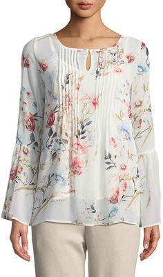 Joan Vass Floral-Chiffon Bell-Sleeve Blouse