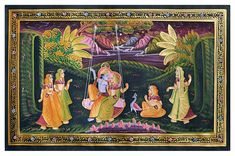 Radha Krishna on Swing (Miniature Painting on Silk Cloth - Unframed) Pichwai Paintings, Mughal Paintings, Embroidery Flowers Pattern, Flower Patterns, Madhubani Painting, Love Your Pet, Krishna Radha, Hindu Art, Silk Painting